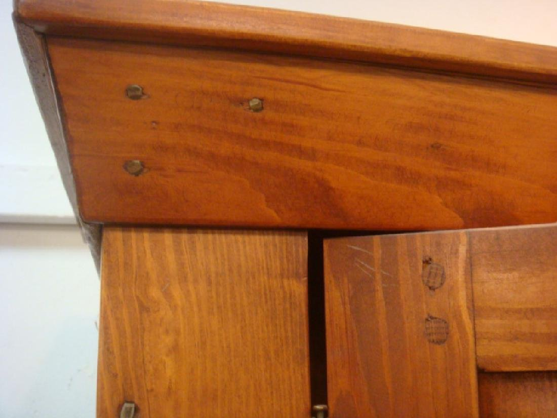 19th C. Red Pine Narrow Shelved Cabinet: - 6