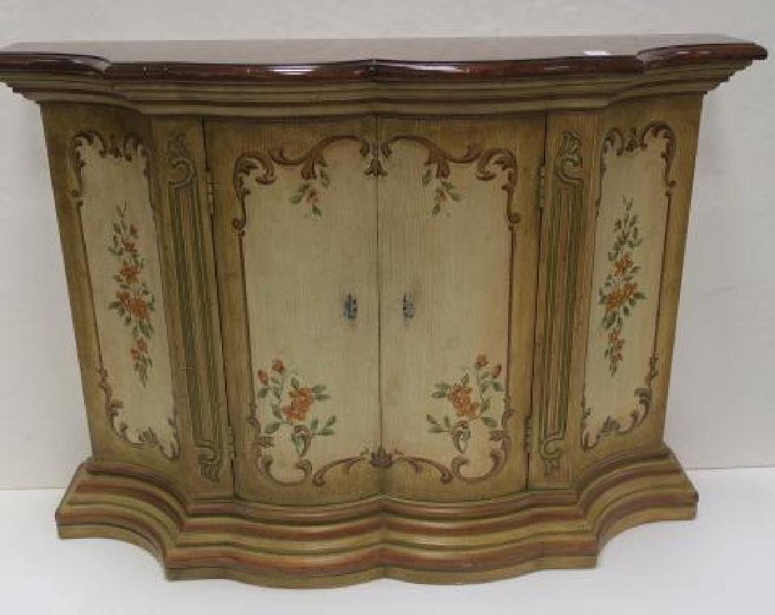 Floral Painted Shaped Edge Entry Hall Cabinet: