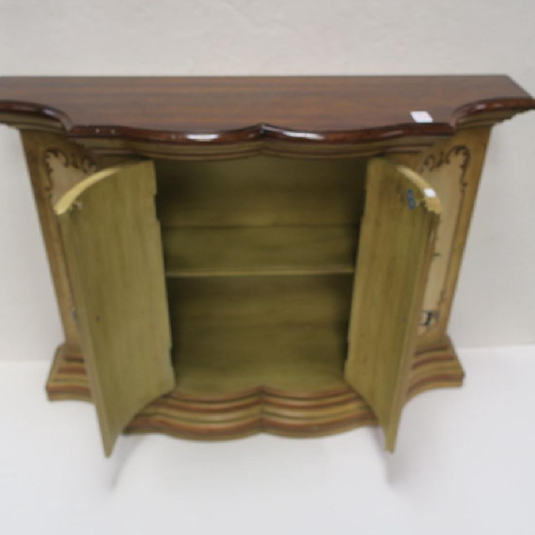 Floral Painted Shaped Edge Entry Hall Cabinet: - 2