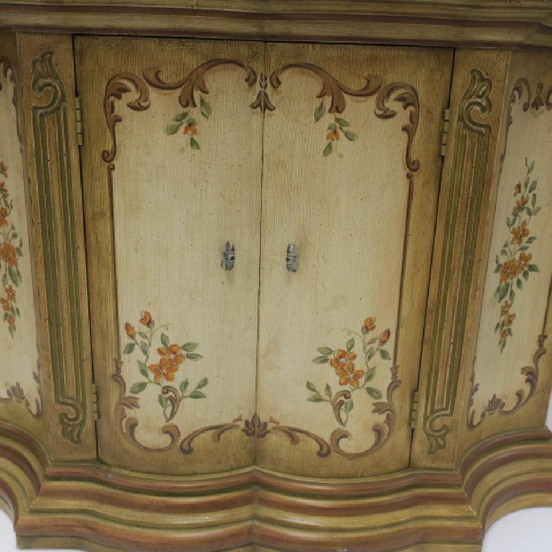 Floral Painted Shaped Edge Entry Hall Cabinet: - 3