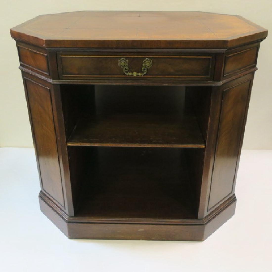 Leather top Book Shelf Octagonal Center Desk: