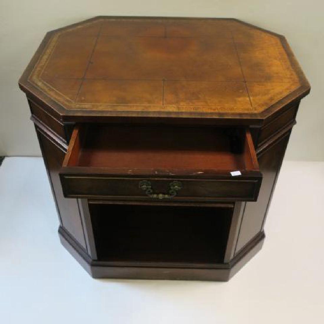 Leather top Book Shelf Octagonal Center Desk: - 2