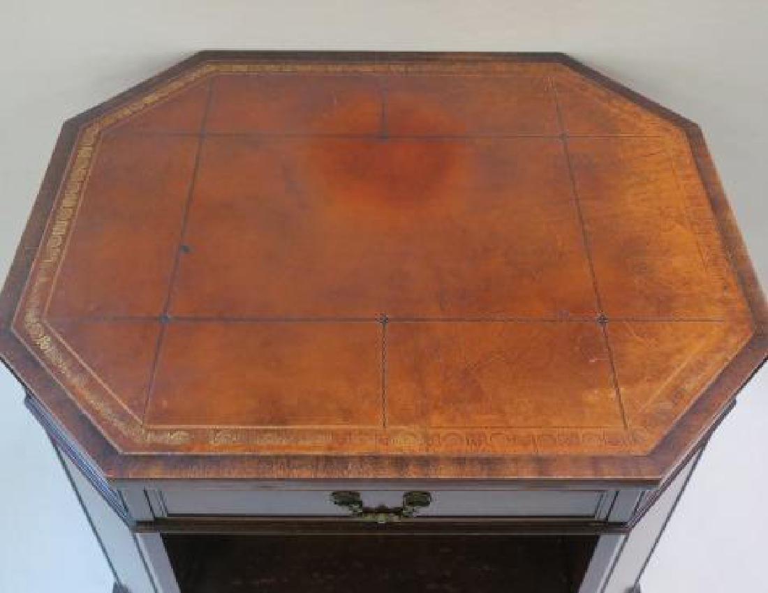 Leather top Book Shelf Octagonal Center Desk: - 4
