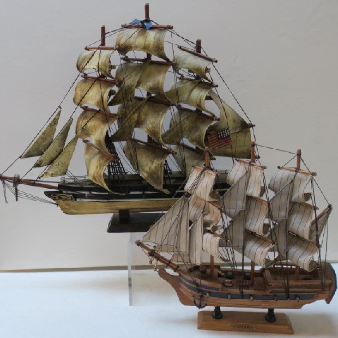Two Wooden Model Clipper Ships, Pandora and Red Jacket