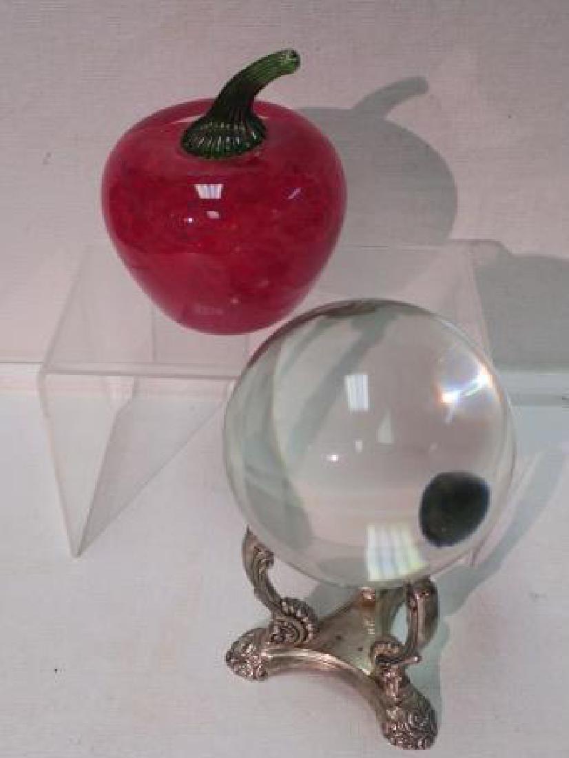 Crystal Ball & OGLEBAY Art Glass Apple: