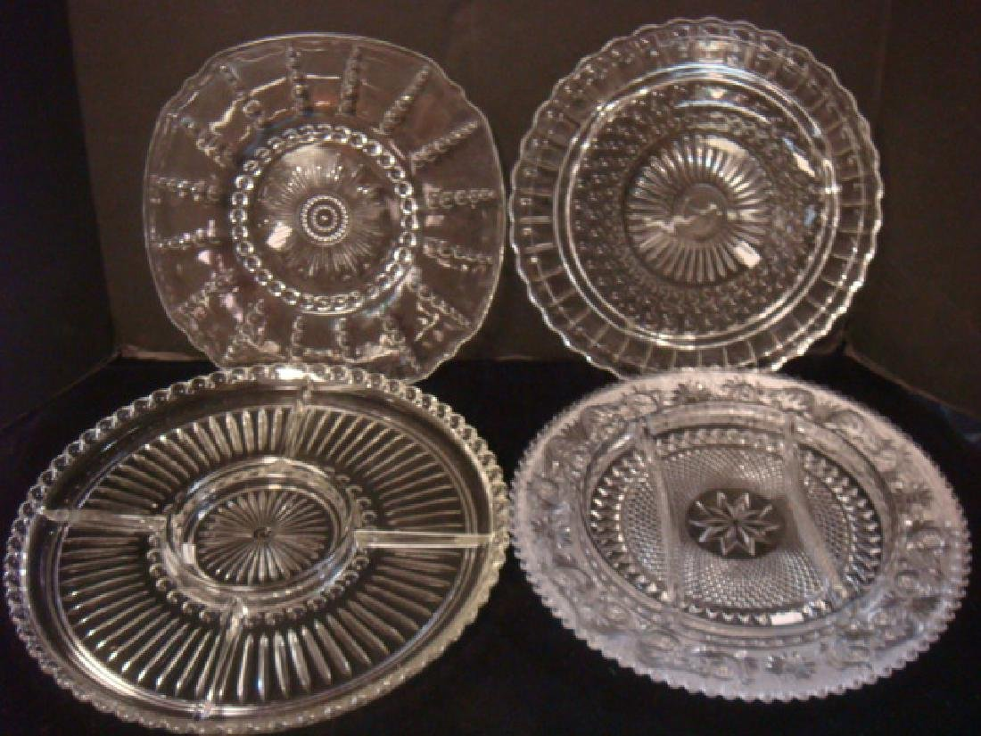 Lot of Four Depression Pressed Glass Trays:
