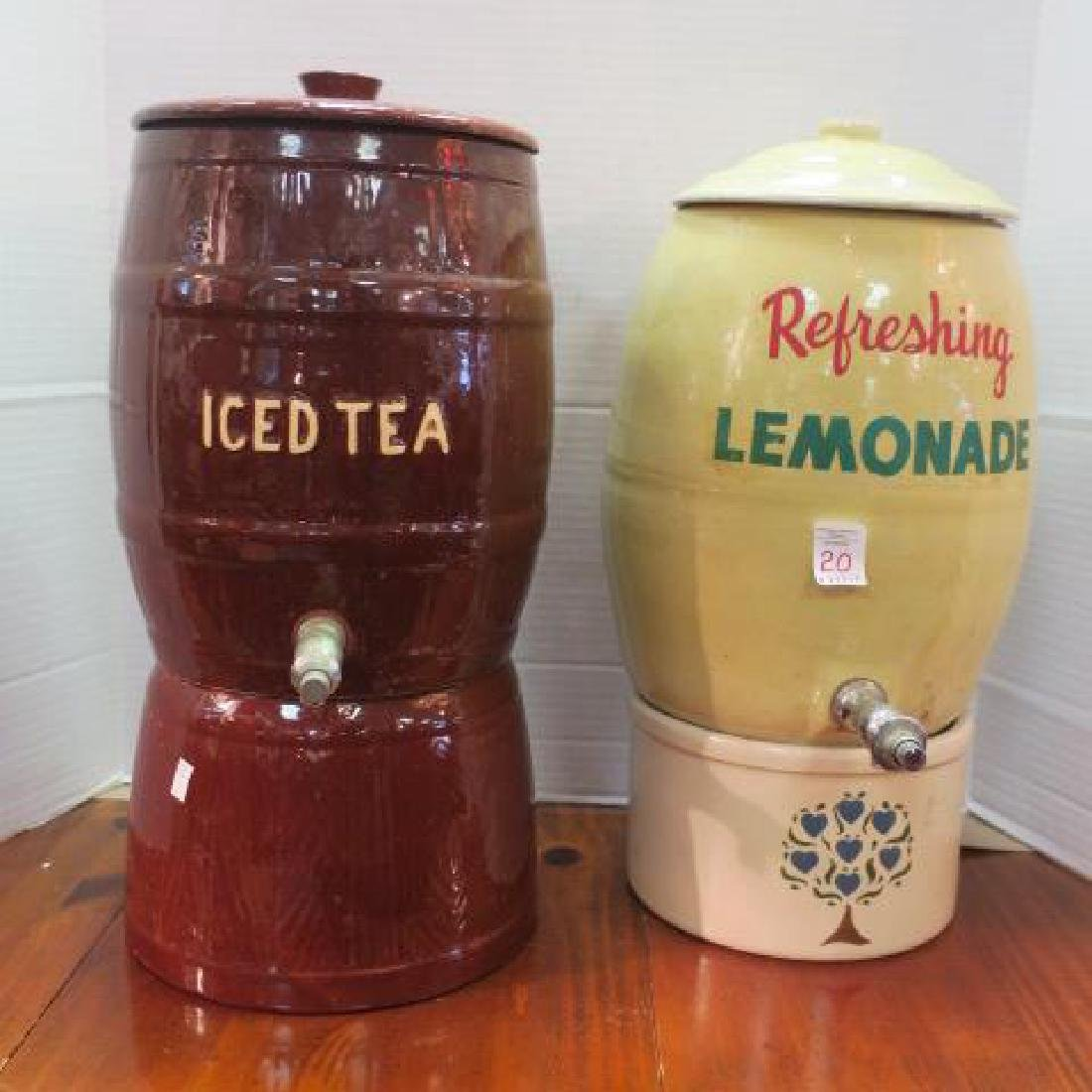 Lemonade and Ice Tea Barrel Shaped Pottery Dispensers: