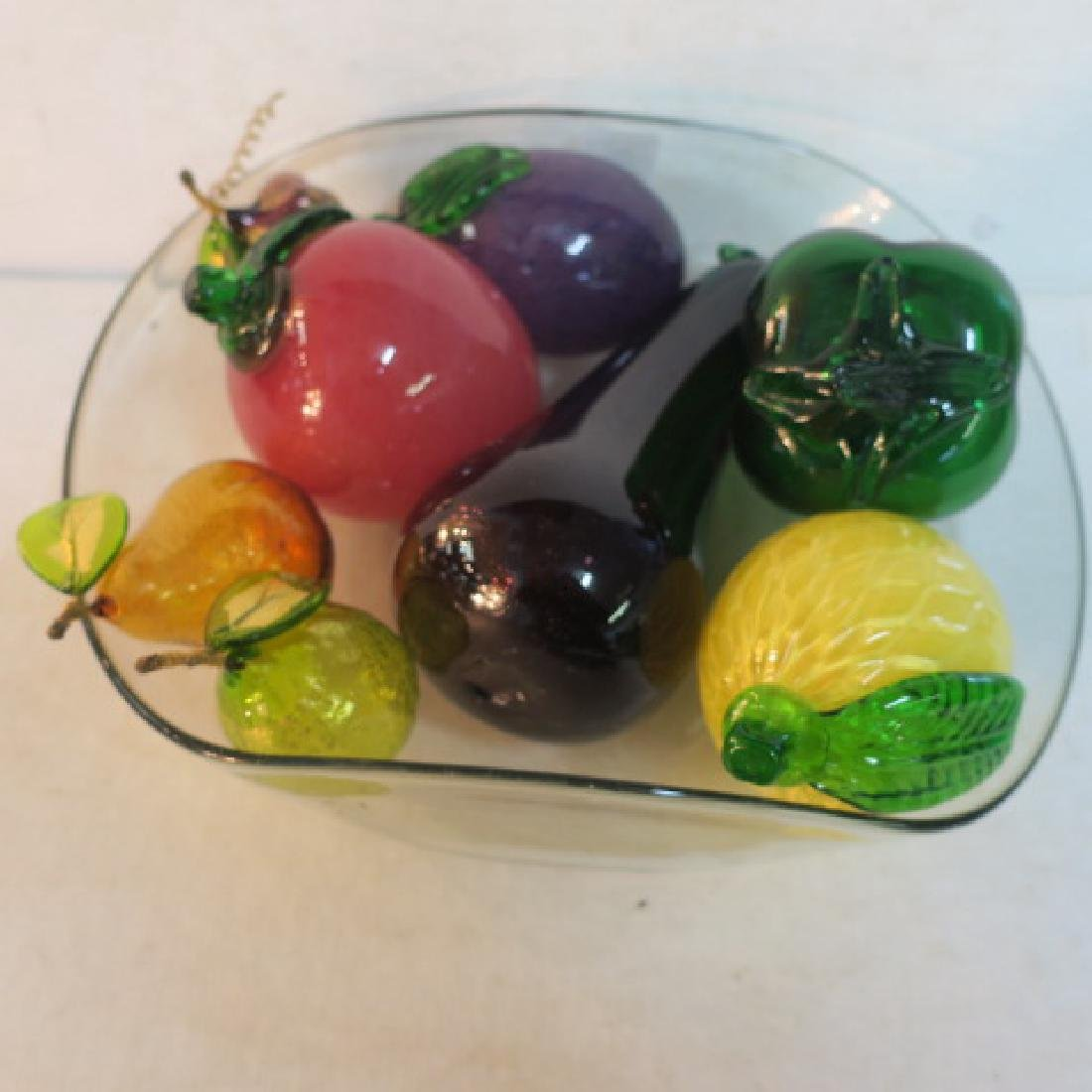 Blown Glass Bowl with Glass Fruit: