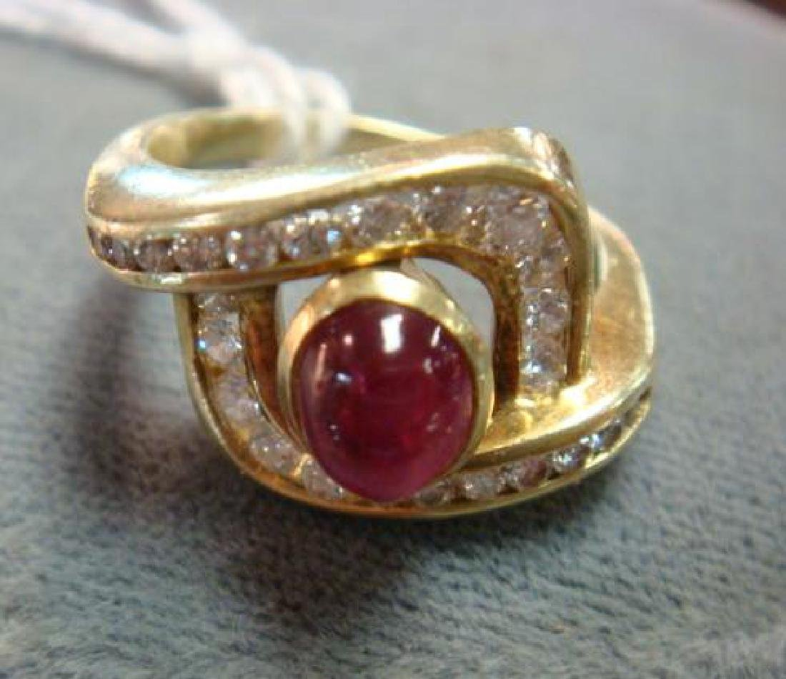 14KT Yellow Gold Ruby and Diamond Ring: