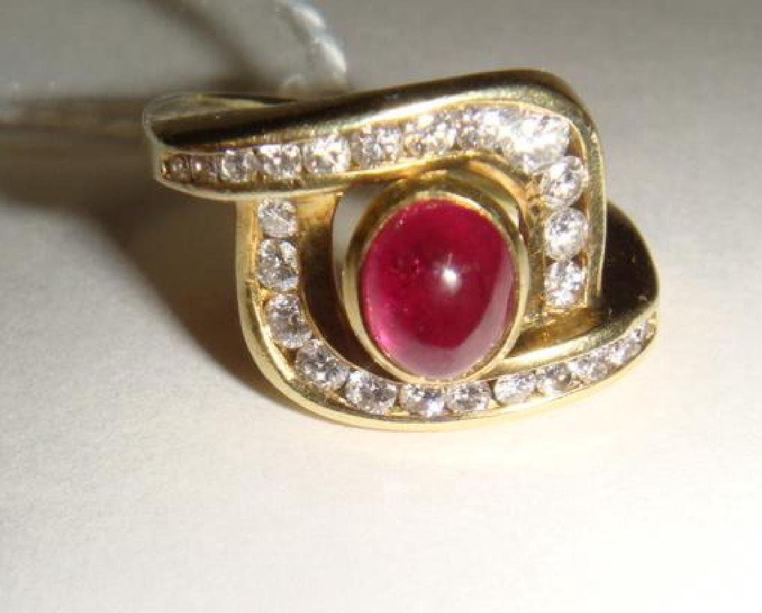 14KT Yellow Gold Ruby and Diamond Ring: - 2