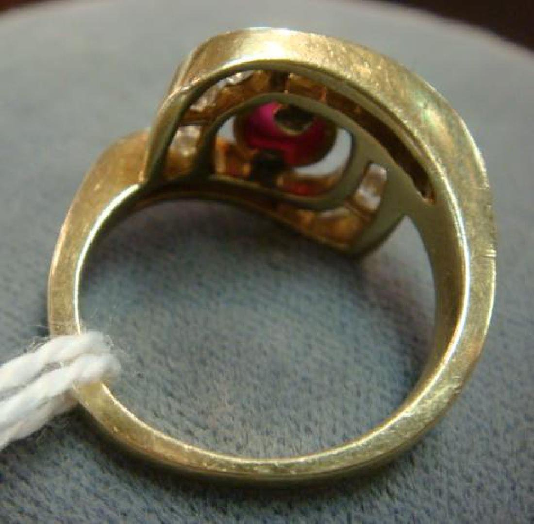 14KT Yellow Gold Ruby and Diamond Ring: - 3