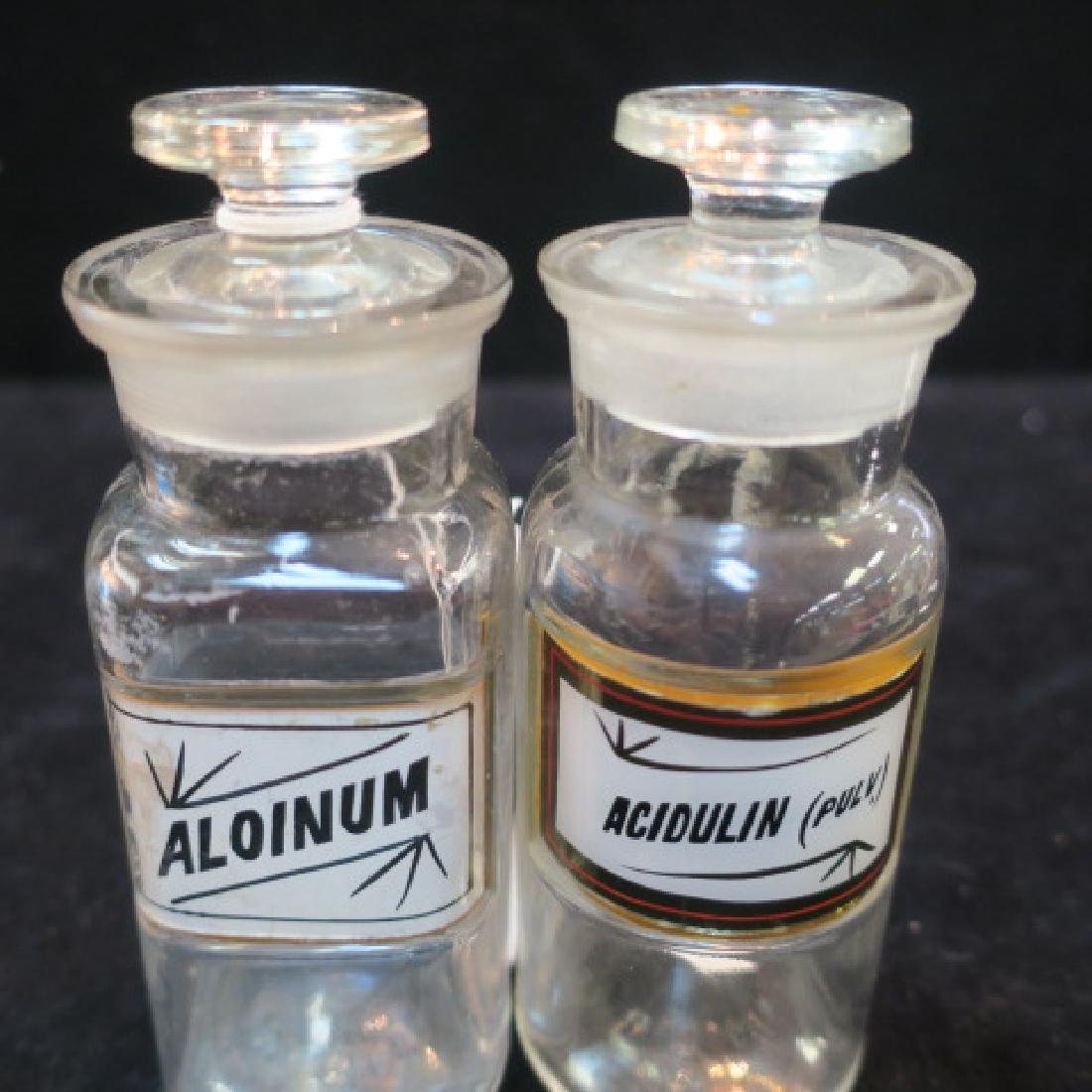 Two Antique Apothecary Bottles with Stoppers: - 2