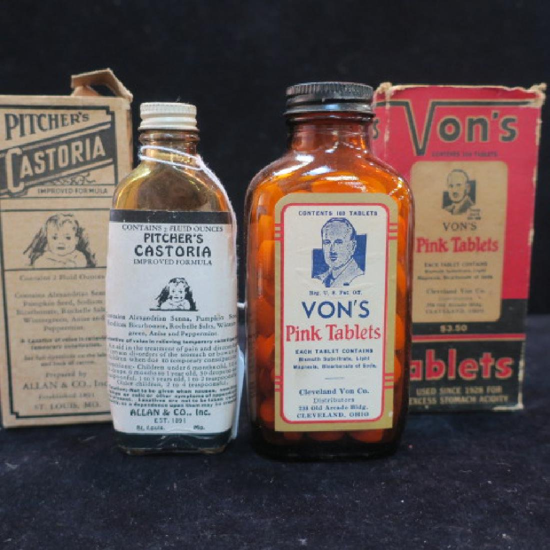 """Two Patent Medicines """"VON'S and PITCHER'S"""" in Boxes:"""