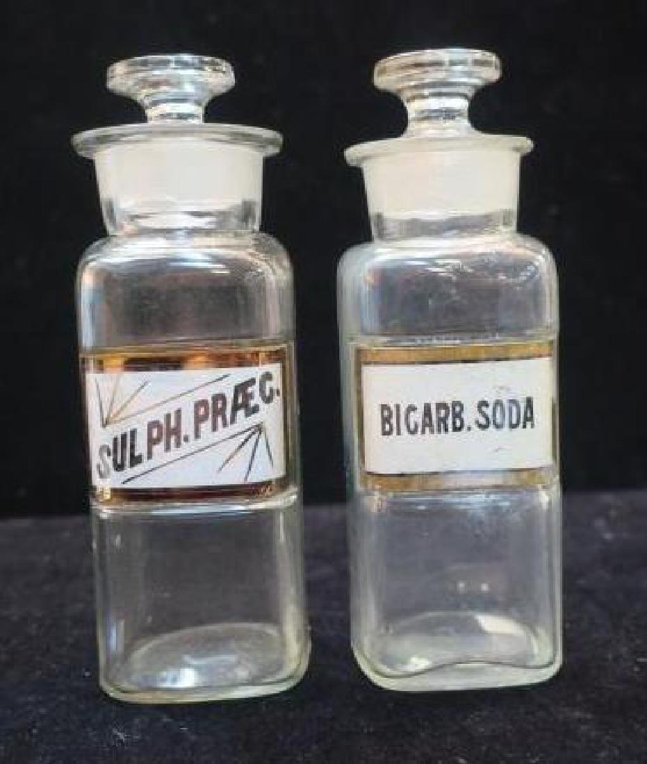 Two Apothecary Bottles; BICARB. SODA & SULPH. PRAEC: