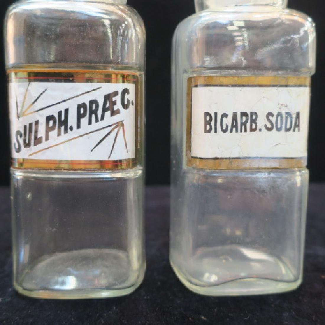 Two Apothecary Bottles; BICARB. SODA & SULPH. PRAEC: - 2