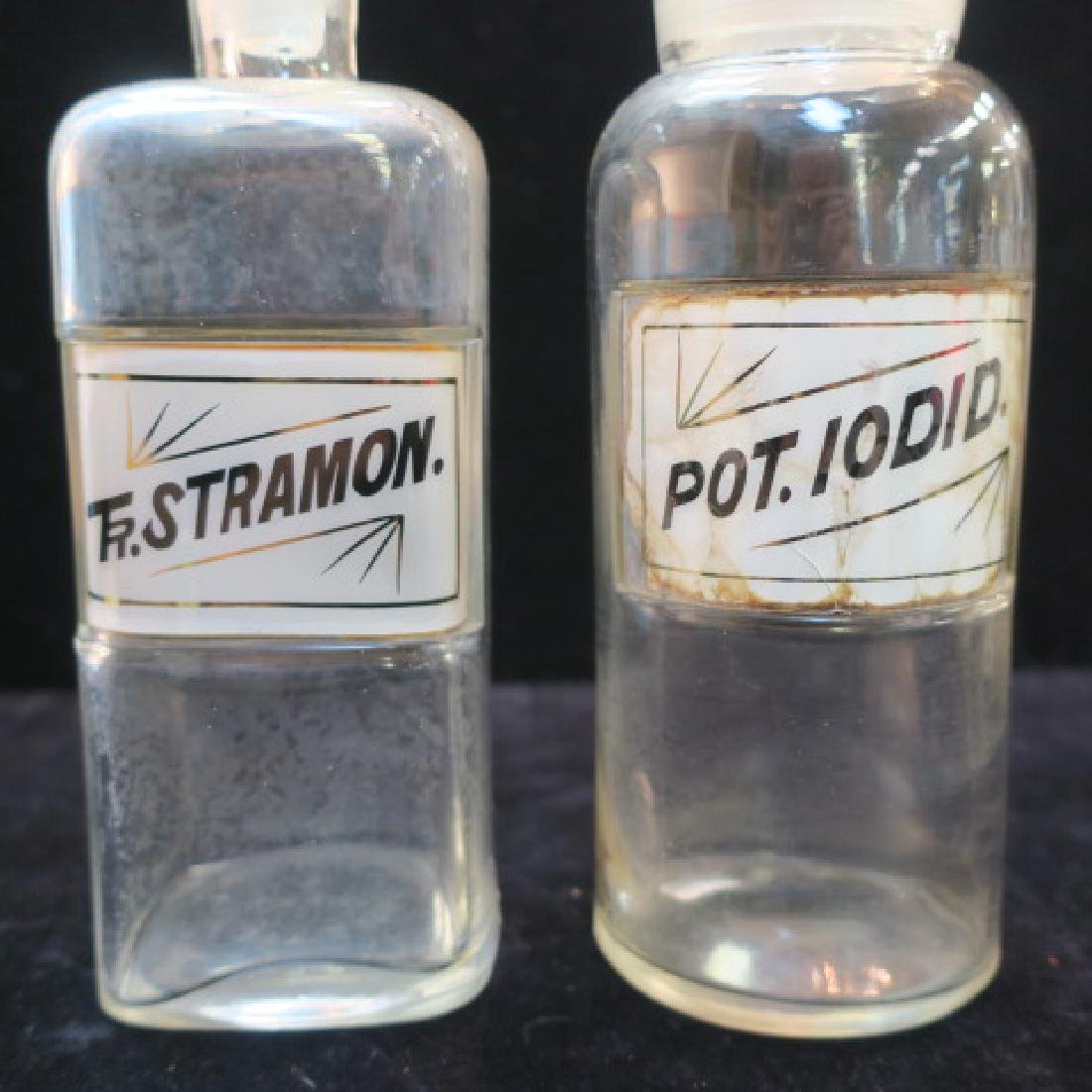 Two Apothecary Bottles; TR.STRAMON. & POT.IODID: - 2