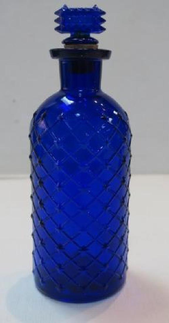 POISON BOTTLE, COBALT Bottle with Embossed Sides: - 3