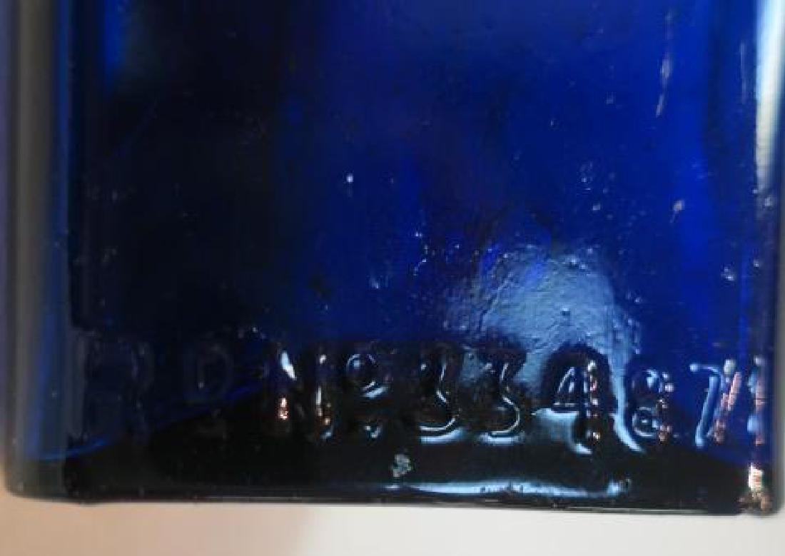 POISON BOTTLE, COBALT Bottle Embossed Stars 2 Sides: - 3