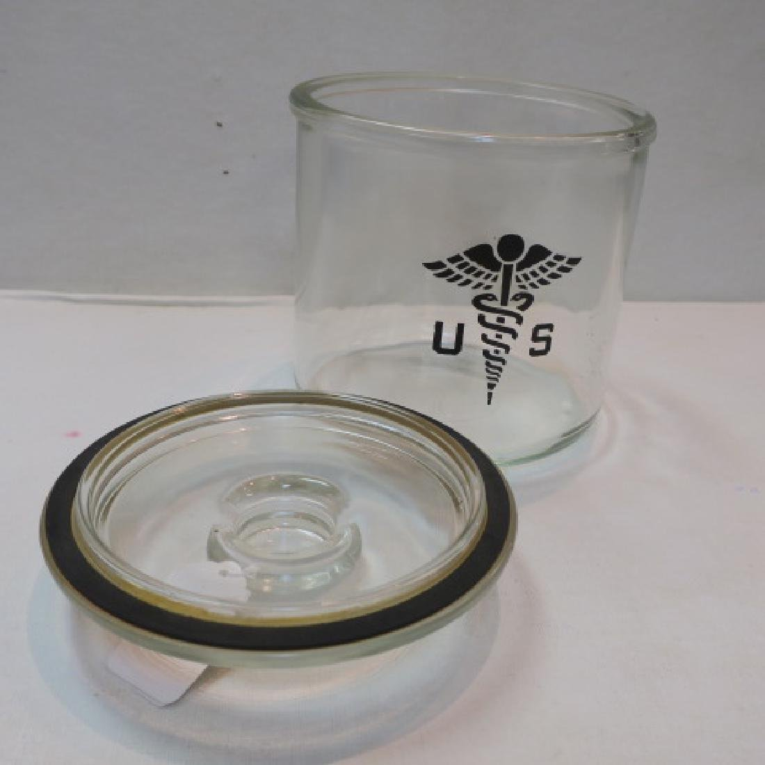 US Army Glass Covered Cotton Ball Holder: - 2