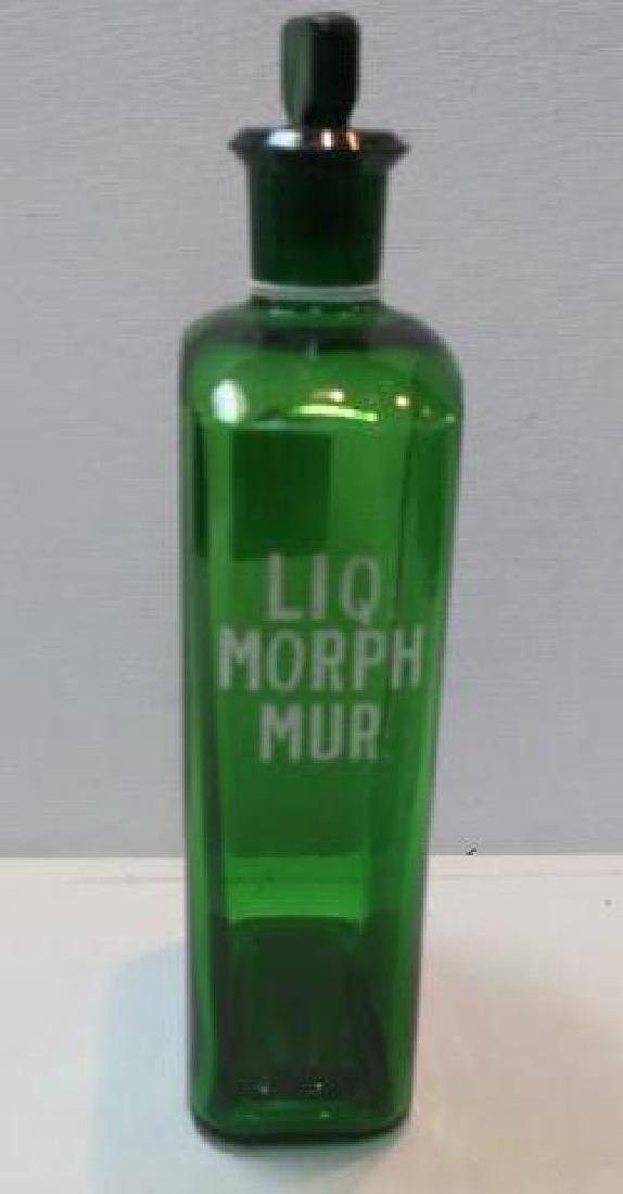 "Green ""LIQ MORPH MUR"" Ribbed Poison Pharmacy Bottle"""
