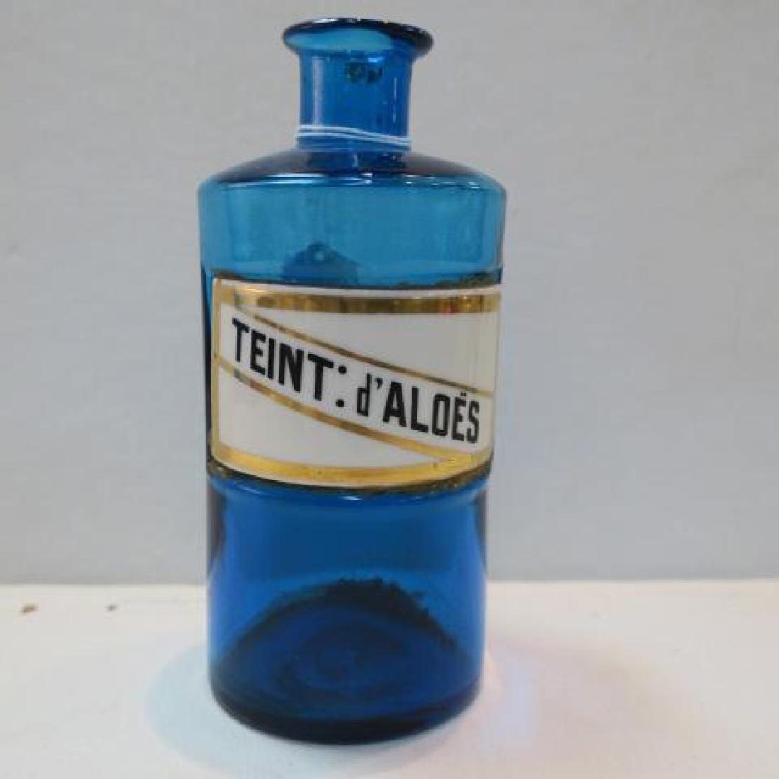 """Azure Antique Apothecary Bottle """"TEINT:d'ALOES"""":"""
