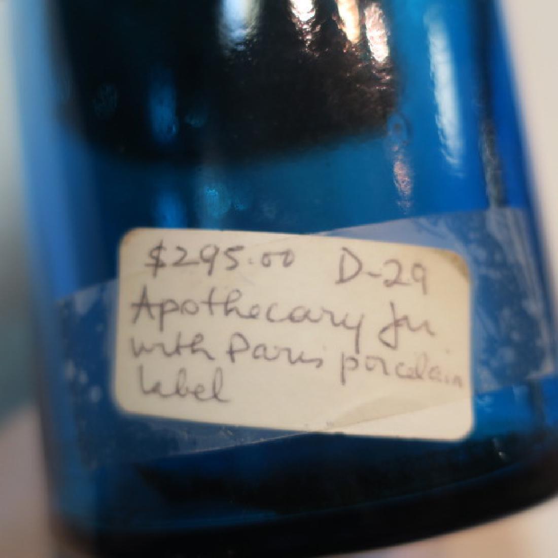 """Azure Antique Apothecary Bottle """"TEINT:d'ALOES"""": - 3"""