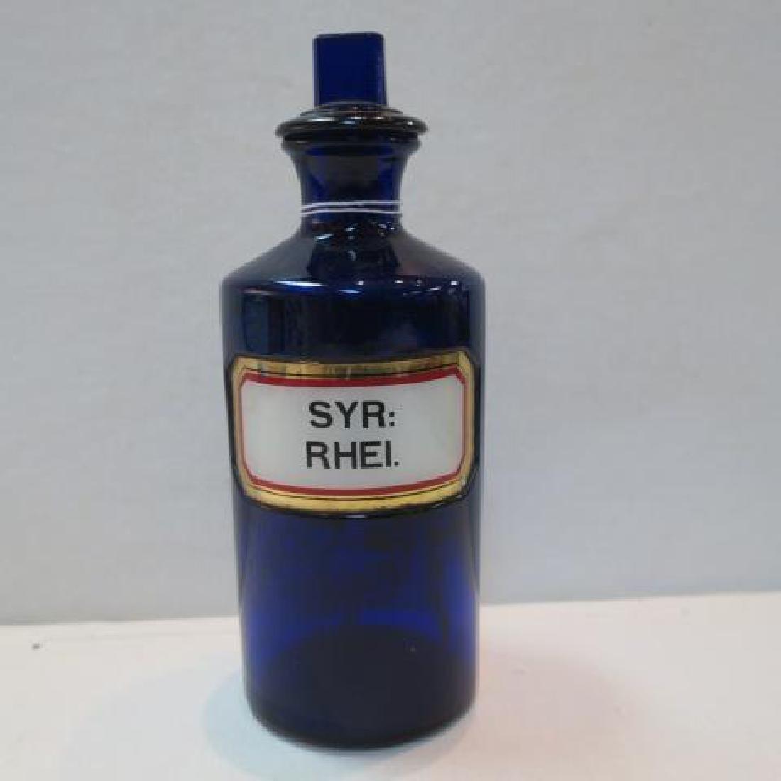 "Cobalt Antique Apothecary Bottle ""SYR:RHEI."":"