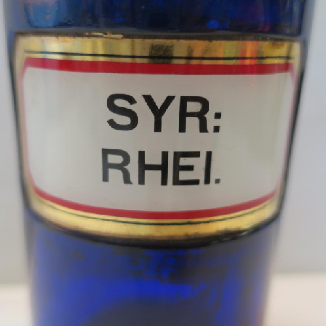 "Cobalt Antique Apothecary Bottle ""SYR:RHEI."": - 2"