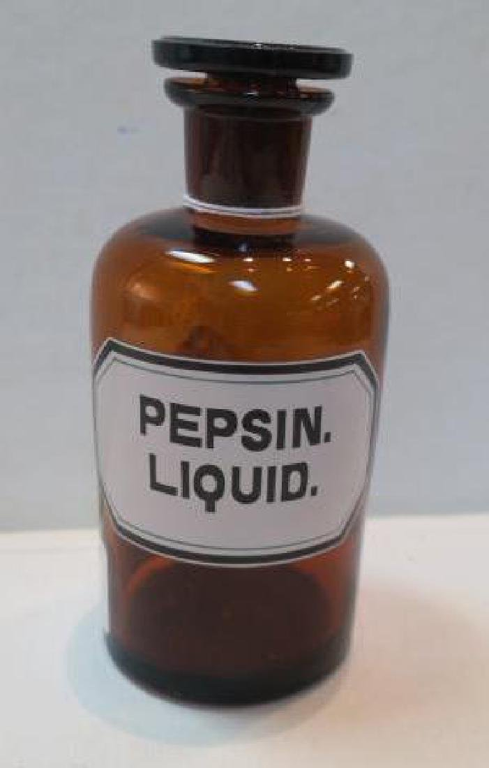 "Amber Antique Apothecary Bottle ""PEPSIN LIQUID."":"