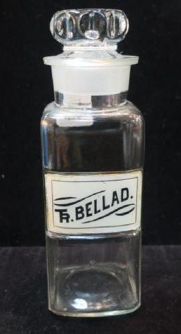 "Vintage 8 1/2"" Pharmacy Bottle with Stopper:"