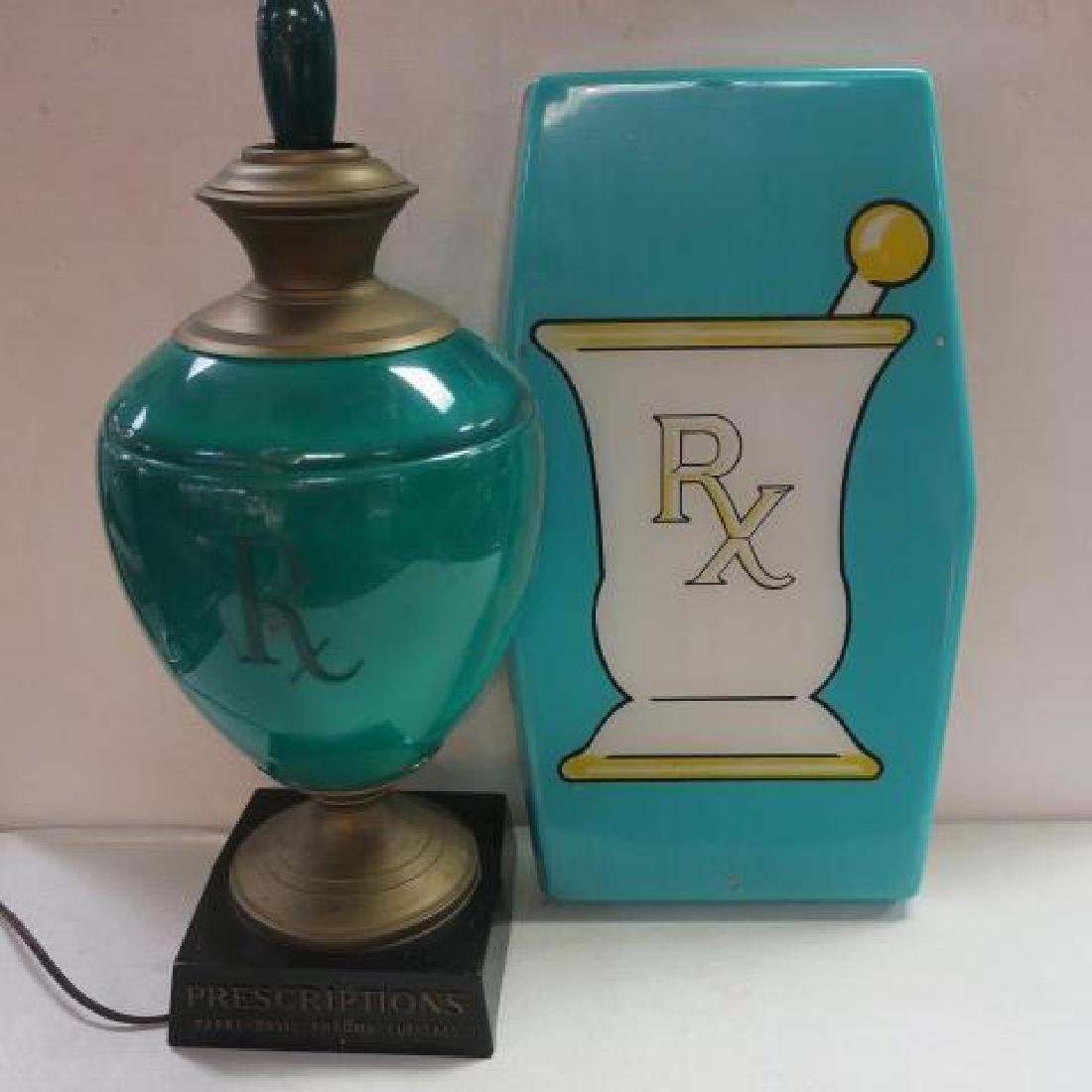 Traditional Green Pharmacy Display Items; Lamp & Sign: