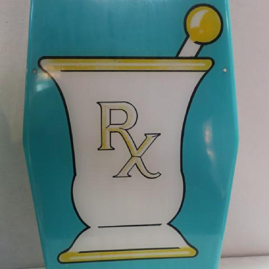 Traditional Green Pharmacy Display Items; Lamp & Sign: - 2