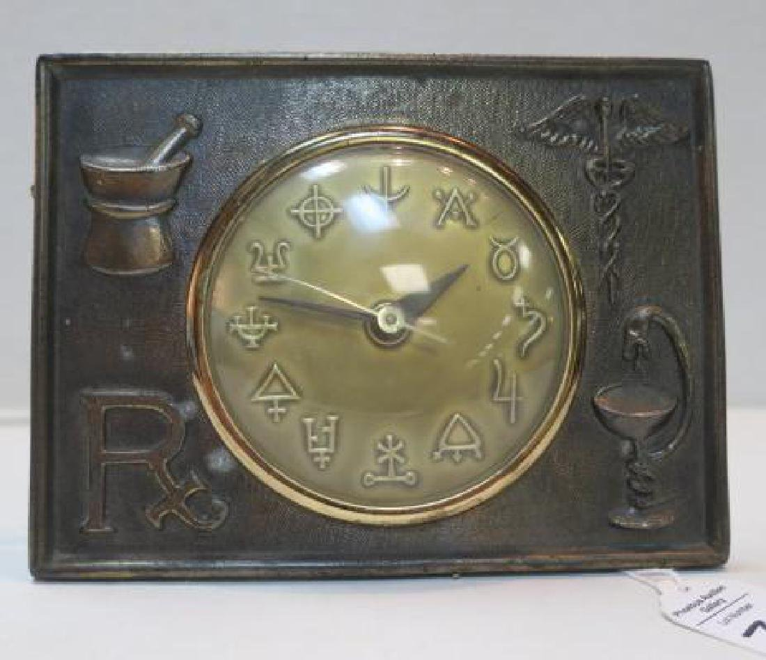 Pharmacy Electric Clock, Brassed Metal Frame: