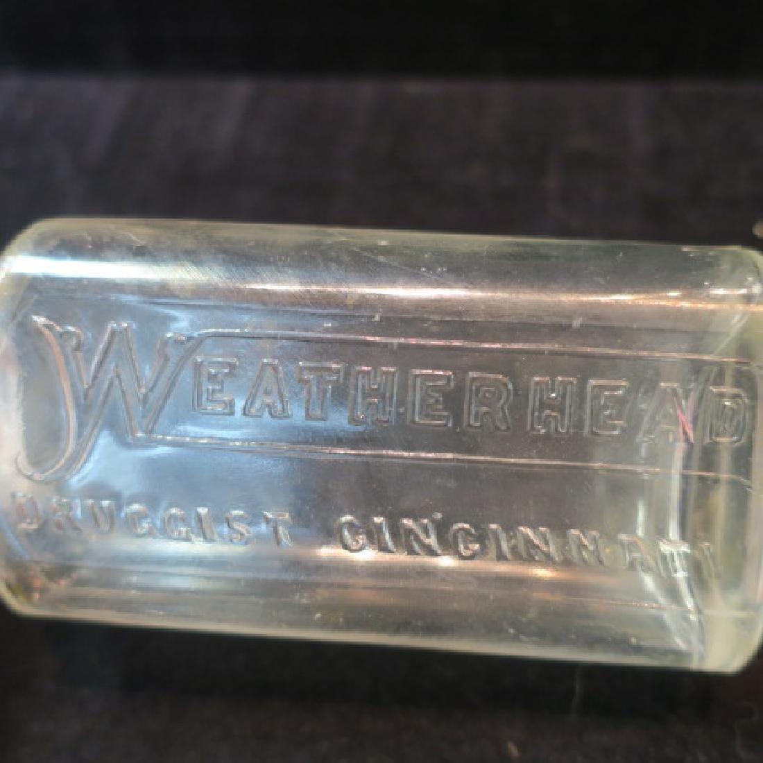 WEATHERHEAD DRUGGIST CINCINNATI Glass Bottle: - 2