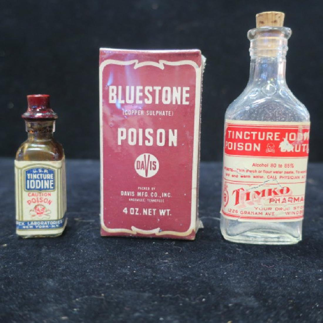 Three POISON Bottles; TIMKO PHARMACY Embossed Bottle: