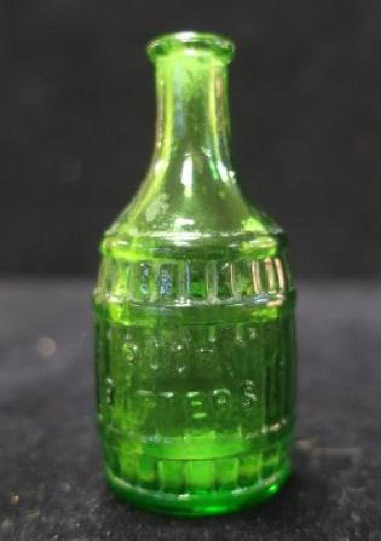 Root BITTERS Green Bottle with Barrel Staves: