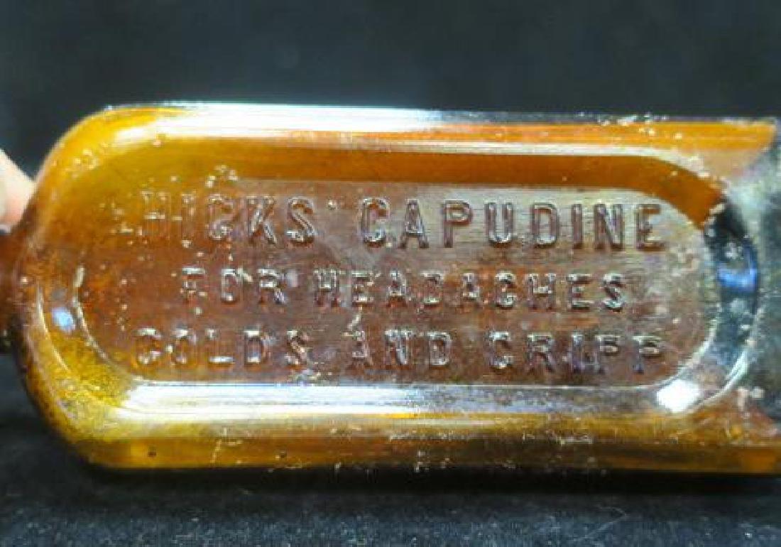 Antique HICK'S CAPUDINE Amber Bottle: - 2