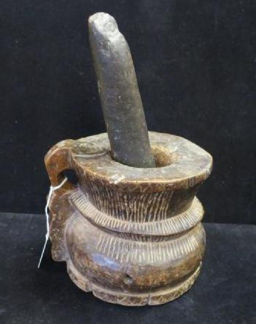 Antique Rough Hewn Wooden Mortar and Stone Pestle:
