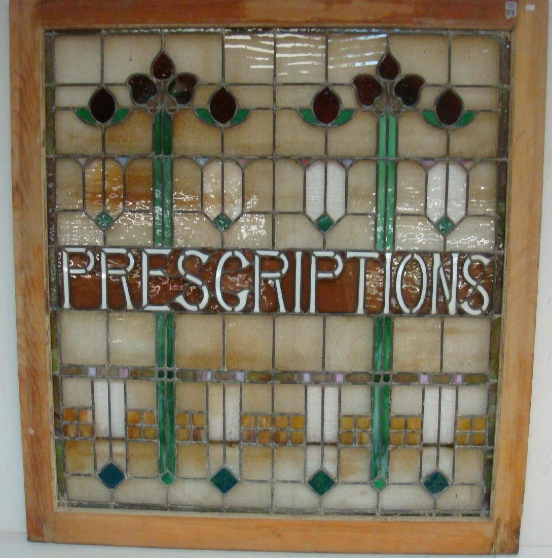 "Large Stain Glass Window ""PRESCRIPTIONS"", CA 1915:"