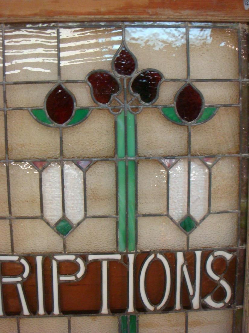 "Large Stain Glass Window ""PRESCRIPTIONS"", CA 1915: - 2"