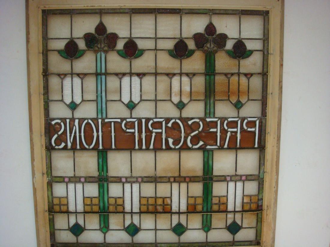 "Large Stain Glass Window ""PRESCRIPTIONS"", CA 1915: - 5"