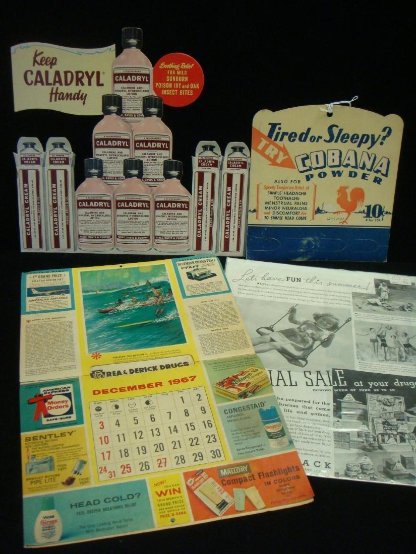 Drug Store Advertising Cards & 1967 Calendar: