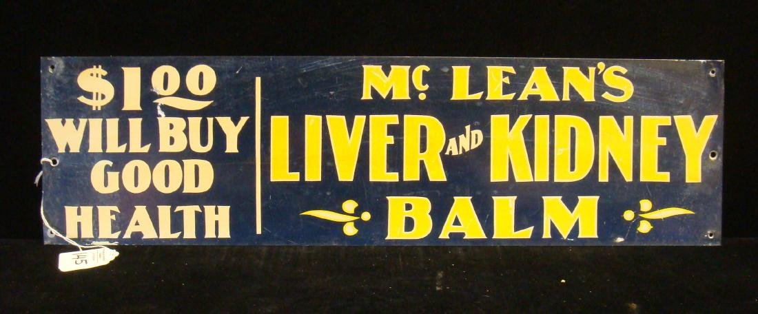 Antique McLEAN'S LIVER and KIDNEY BALM Metal Sign: