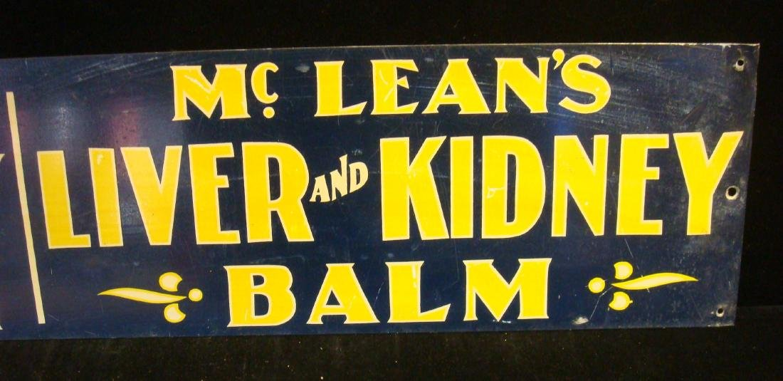 Antique McLEAN'S LIVER and KIDNEY BALM Metal Sign: - 3