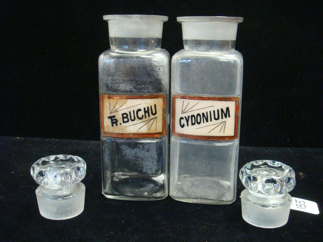 Two Antique Apothecary Bottles with Stoppers, CA 1900: - 3