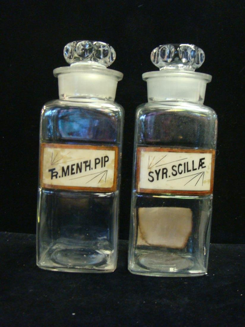 Two Antique Apothecary Bottles with Stoppers, CA 1900: