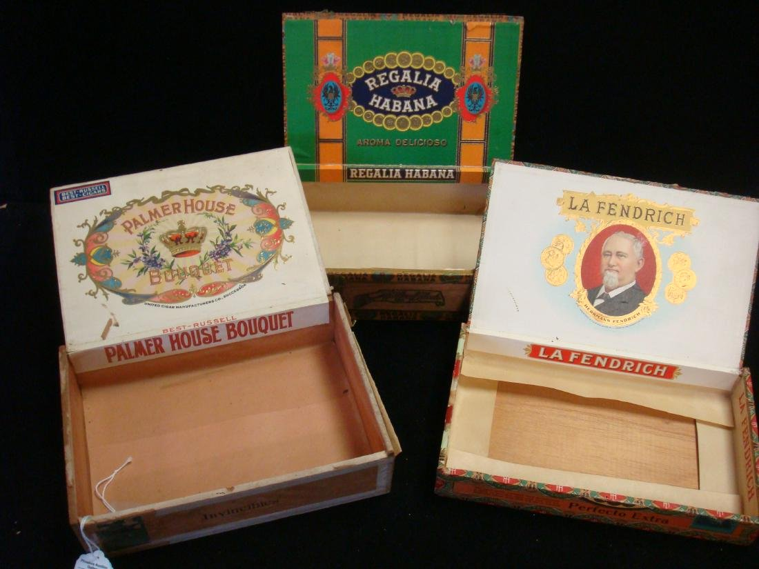 Three Antique Wooden Cigar Boxes: One Cuban Cigars: