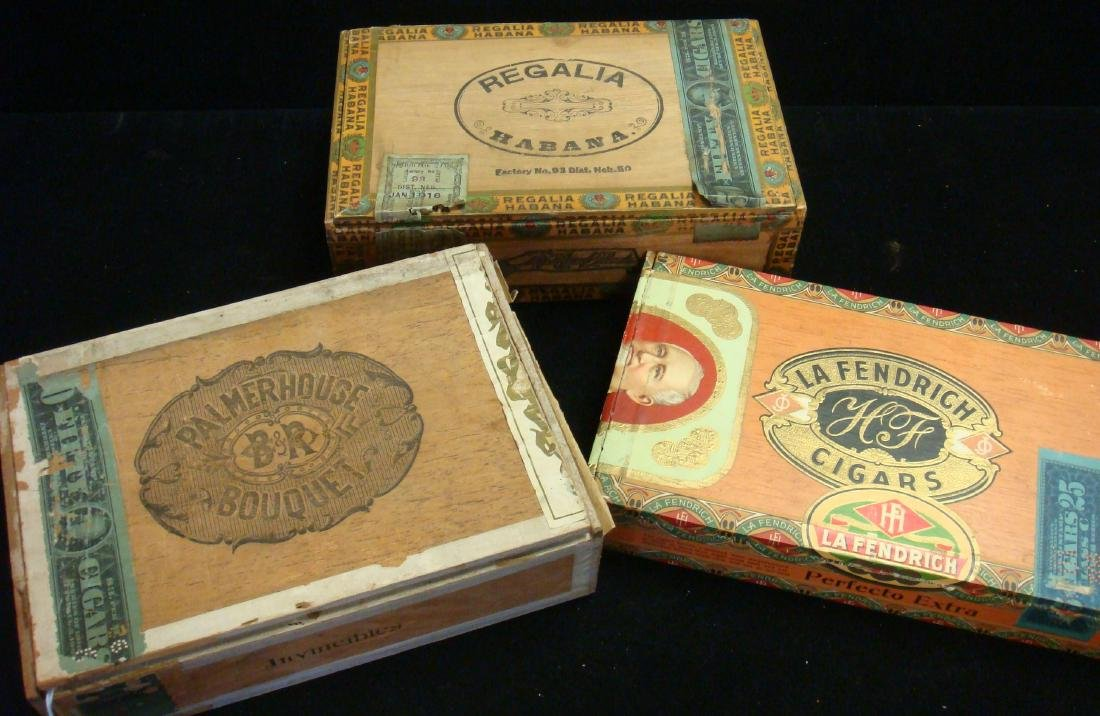 Three Antique Wooden Cigar Boxes: One Cuban Cigars: - 3