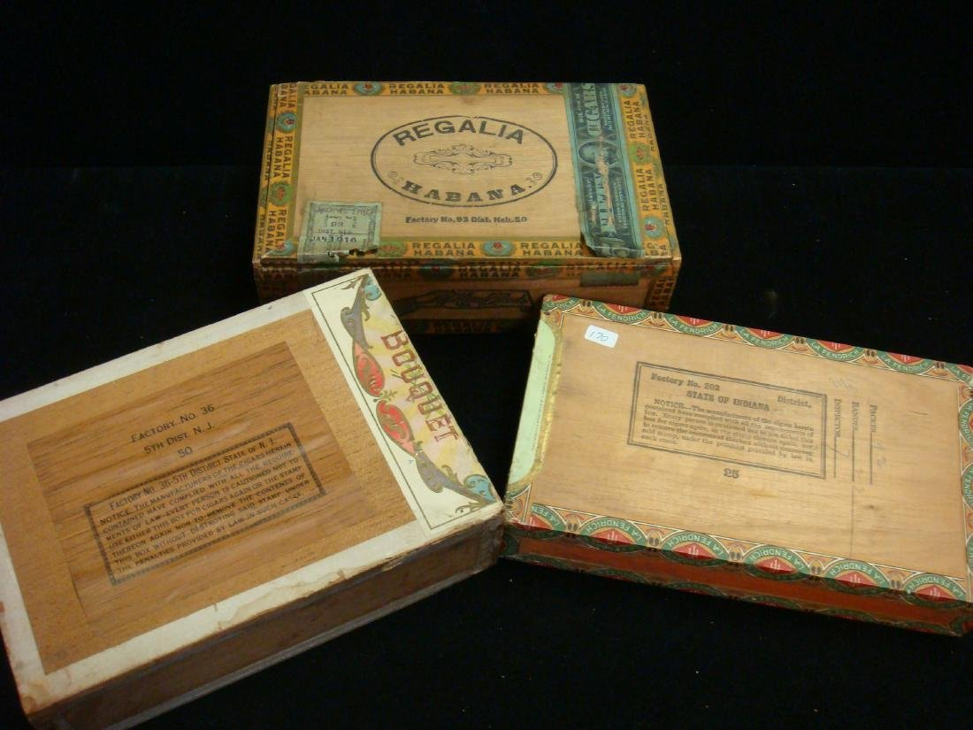 Three Antique Wooden Cigar Boxes: One Cuban Cigars: - 4