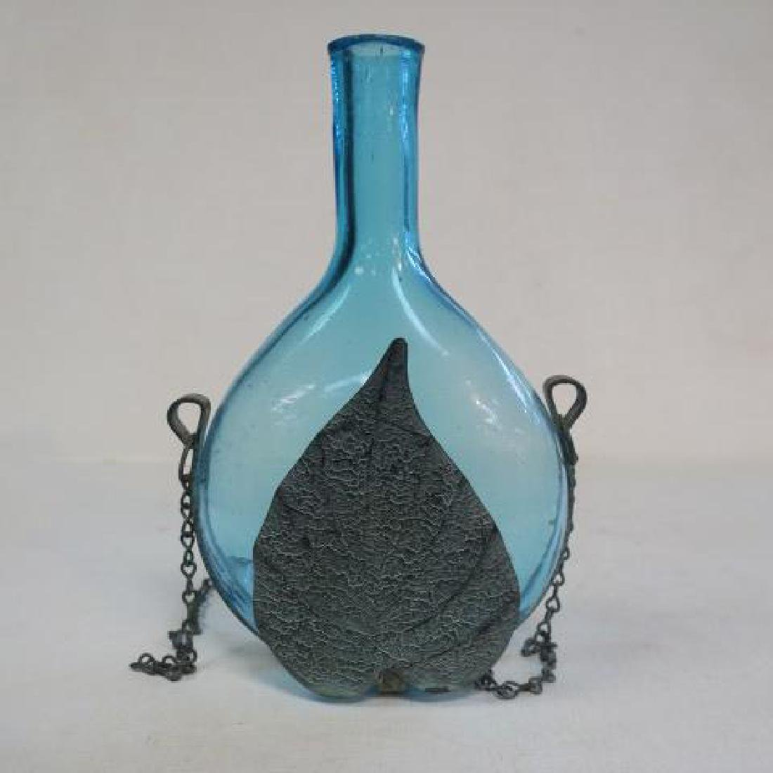 Antique Blue Green Blown Bottle with Metal Carrier: